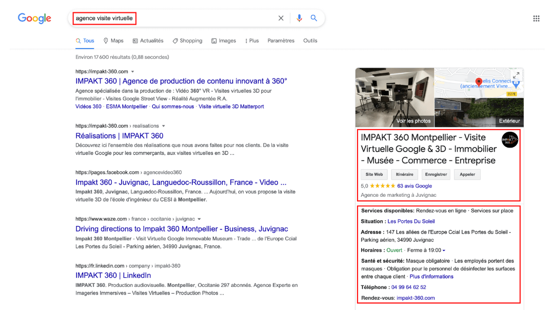 page-google-visible-mot-cle-entreprise-agence-visite-virtuelle-horaire-services
